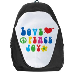 Love Peace Joy Backpack Bag by TastefulDesigns