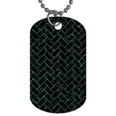 Brick2 Black Marble & Green Marble Dog Tag (two Sides) by trendistuff