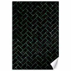 Brick2 Black Marble & Green Marble Canvas 12  X 18  by trendistuff