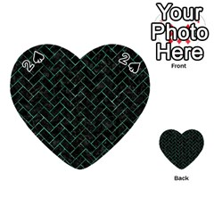 Brick2 Black Marble & Green Marble Playing Cards 54 (heart)