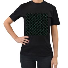 Brick2 Black Marble & Green Marble Women s T Shirt (black) by trendistuff