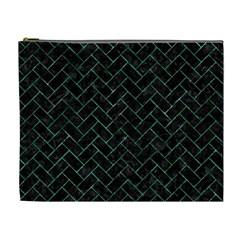 Brick2 Black Marble & Green Marble Cosmetic Bag (xl) by trendistuff