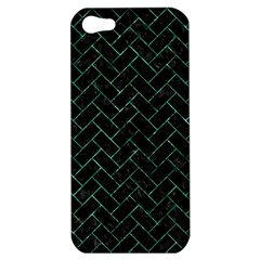 Brick2 Black Marble & Green Marble Apple Iphone 5 Hardshell Case by trendistuff