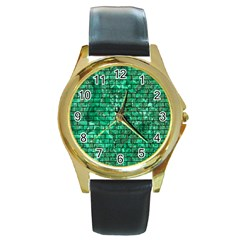Brick1 Black Marble & Green Marble (r) Round Gold Metal Watch by trendistuff