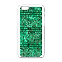 Brick1 Black Marble & Green Marble (r) Apple Iphone 6/6s White Enamel Case by trendistuff
