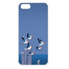 Abstract Pelicans Seascape Tropical Pop Art  Apple Iphone 5 Seamless Case (white) by WaltCurleeArt