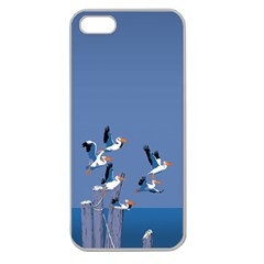 Abstract Pelicans Seascape Tropical Pop Art  Apple Seamless Iphone 5 Case (clear) by WaltCurleeArt