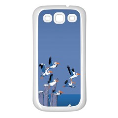 Abstract Pelicans Seascape Tropical Pop Art  Samsung Galaxy S3 Back Case (white) by WaltCurleeArt
