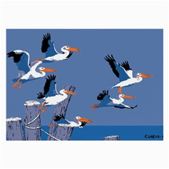 Abstract Pelicans Seascape Tropical Pop Art Large Glasses Cloth by WaltCurleeArt