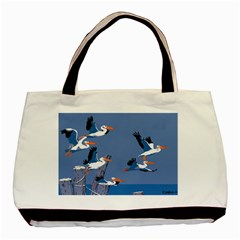 Abstract Pelicans Seascape Tropical Pop Art Basic Tote Bag (two Sides) by WaltCurleeArt