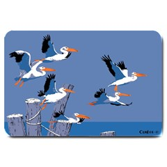 Abstract Pelicans Seascape Tropical Pop Art Large Doormat  by WaltCurleeArt