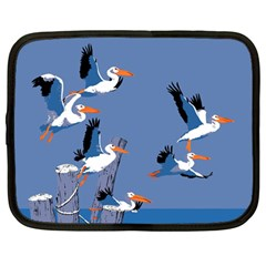 Abstract Pelicans Seascape Tropical Pop Art Netbook Case (large) by WaltCurleeArt