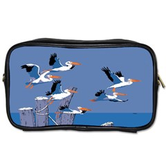 Abstract Pelicans Seascape Tropical Pop Art Toiletries Bags by WaltCurleeArt