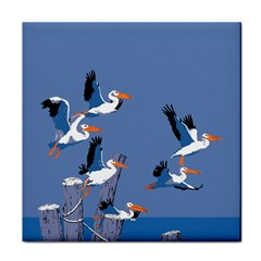 abstract Pelicans seascape tropical pop art Tile Coasters by WaltCurleeArt