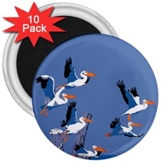 Abstract Pelicans Seascape Tropical Pop Art 3  Magnets (10 Pack)  by WaltCurleeArt