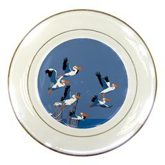 Abstract Pelicans Seascape Tropical Pop Art Porcelain Plates by WaltCurleeArt