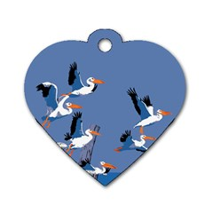 Abstract Pelicans Seascape Tropical Pop Art Dog Tag Heart (one Side) by WaltCurleeArt