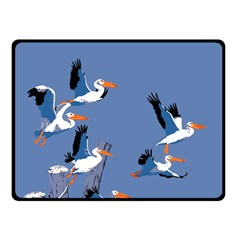 Abstract Pelicans Seascape Tropical Pop Art Double Sided Fleece Blanket (small)  by WaltCurleeArt