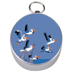 Abstract Pelicans Seascape Tropical Pop Art Silver Compasses by WaltCurleeArt