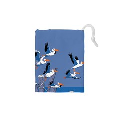 Abstract Pelicans Seascape Tropical Pop Art Drawstring Pouches (xs)  by WaltCurleeArt