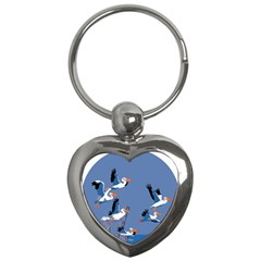Abstract Pelicans Seascape Tropical Pop Art Key Chains (heart)  by WaltCurleeArt