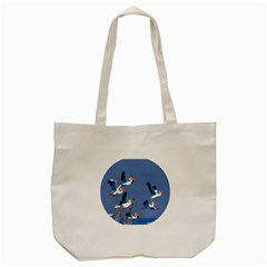 Abstract Pelicans Seascape Tropical Pop Art Tote Bag (cream) by WaltCurleeArt