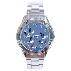 Abstract Pelicans Seascape Tropical Pop Art Stainless Steel Analogue Watch by WaltCurleeArt