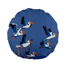 Abstract Pelicans Seascape Tropical Pop Art Standard 15  Premium Round Cushions by WaltCurleeArt