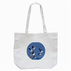 Abstract Pelicans Seascape Tropical Pop Art Tote Bag (white) by WaltCurleeArt