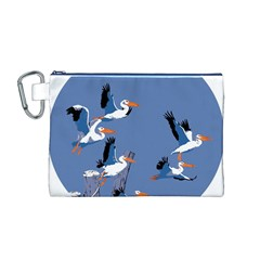 Abstract Pelicans Seascape Tropical Pop Art Canvas Cosmetic Bag (m) by WaltCurleeArt