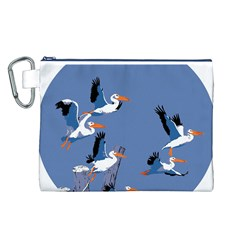 Abstract Pelicans Seascape Tropical Pop Art Canvas Cosmetic Bag (l) by WaltCurleeArt