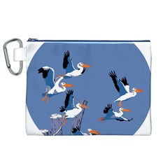 Abstract Pelicans Seascape Tropical Pop Art Canvas Cosmetic Bag (xl)  by WaltCurleeArt