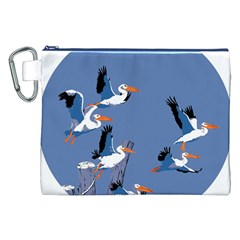 Abstract Pelicans Seascape Tropical Pop Art Canvas Cosmetic Bag (xxl)  by WaltCurleeArt