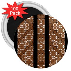 Orange And Black Boho Stripes 3  Magnets (100 Pack) by dflcprints