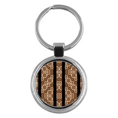Orange And Black Boho Stripes Key Chains (round)  by dflcprints