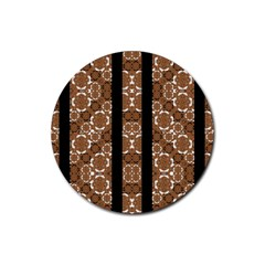 Orange And Black Boho Stripes Rubber Round Coaster (4 Pack)  by dflcprints
