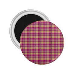Pink Plaid Pattern 2 25  Magnets