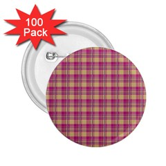 Pink Plaid Pattern 2 25  Buttons (100 Pack)