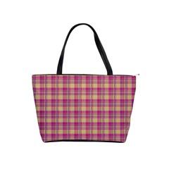 Pink Plaid Pattern Shoulder Handbags