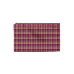 Pink Plaid Pattern Cosmetic Bag (small)