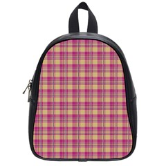 Pink Plaid Pattern School Bags (small)  by TastefulDesigns
