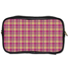 Pink Plaid Pattern Toiletries Bags 2 Side
