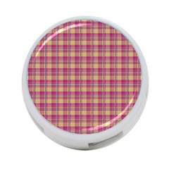 Pink Plaid Pattern 4 Port Usb Hub (two Sides)