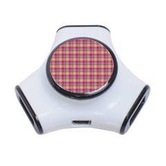 Pink Plaid Pattern 3 Port Usb Hub
