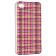 Pink Plaid Pattern Apple Iphone 4/4s Seamless Case (white)