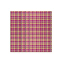 Pink Plaid Pattern Satin Bandana Scarf