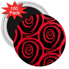 Abtract  Red Roses Pattern 3  Magnets (100 Pack)