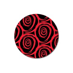 Abtract  Red Roses Pattern Magnet 3  (round)