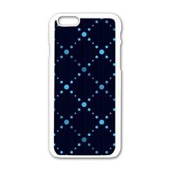Seamless Geometric Blue Dots Pattern  Apple Iphone 6/6s White Enamel Case by TastefulDesigns