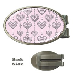 Sketches Ornamental Hearts Pattern Money Clips (oval)
